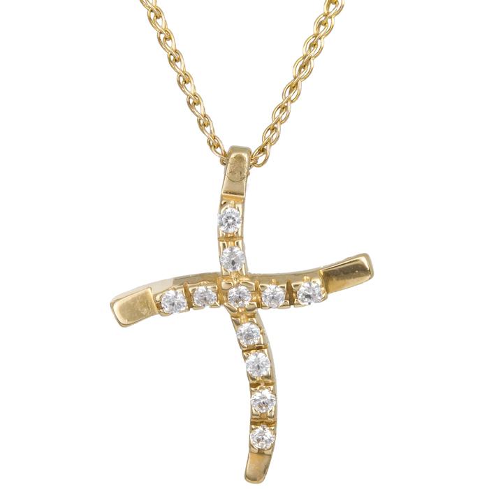 Χρυσός σταυρός με πέτρες Κ14 C012934 012934C Χρυσός 14 Καράτια χρυσά κοσμήματα σταυροί