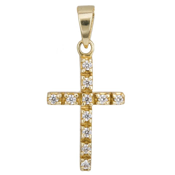 Γυναικείος σταυρός πετράτος 14 K 012937 012937 Χρυσός 14 Καράτια