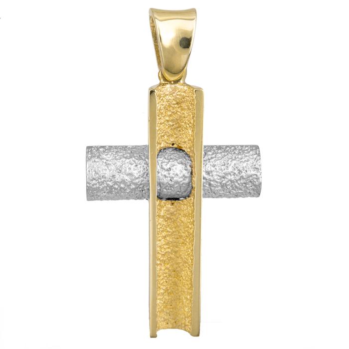 Σταυροί Βάπτισης - Αρραβώνα ΔΙΧΡΩΜΟΣ ΣΤΑΥΡΟΣ 18Κ 013015 Ανδρικό Χρυσός 18 Καράτια