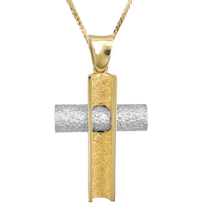 Βαπτιστικοί Σταυροί με Αλυσίδα ΔΙΧΡΩΜΟΣ ΣΤΑΥΡΟΣ 18Κ ΜΕ ΚΑΔΕΝΑ 013015C Ανδρικό Χρυσός 18 Καράτια