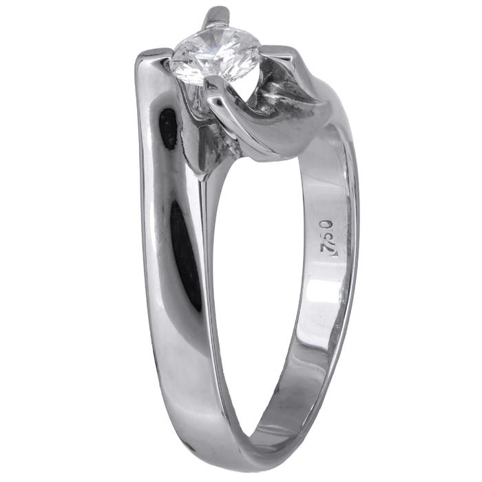 Δαχτυλίδι λευκόχρυσο μονόπετρο με διαμάντι 18K 001452 Χρυσός 18 Καράτια