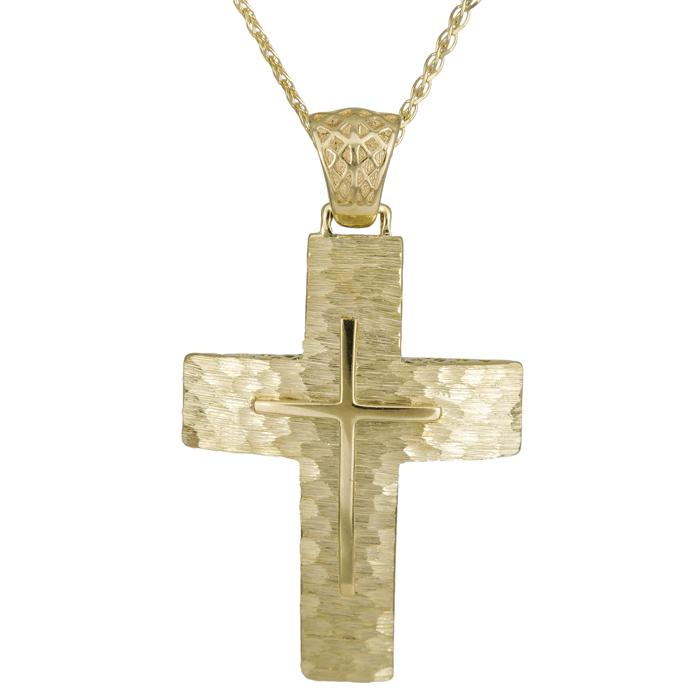 Βαπτιστικοί Σταυροί με Αλυσίδα ΧΡΥΣΟΣ ΣΤΑΥΡΟΣ Κ14 ΜΕ ΑΛΥΣΙΔΑ 014717C Ανδρικό Χρυσός 14 Καράτια