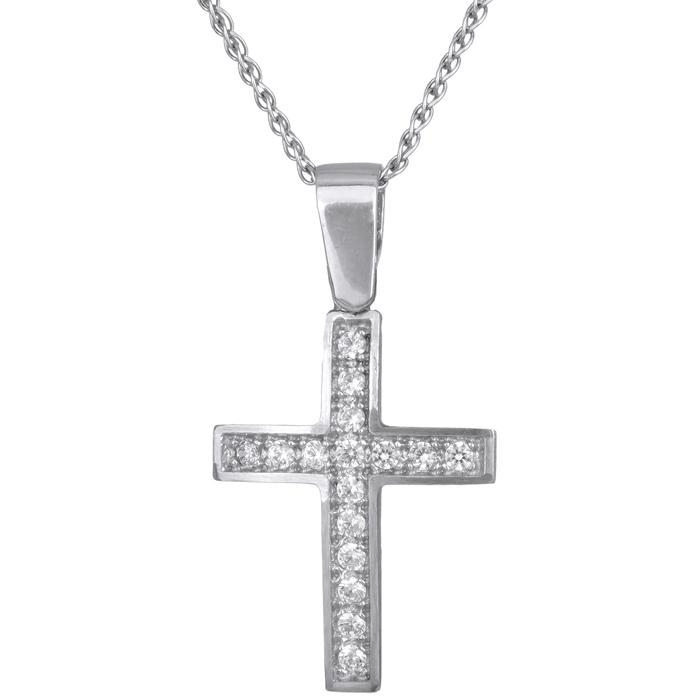 Γυναικείος σταυρός με αλυσίδα c15193 015193c Χρυσός 14 Καράτια