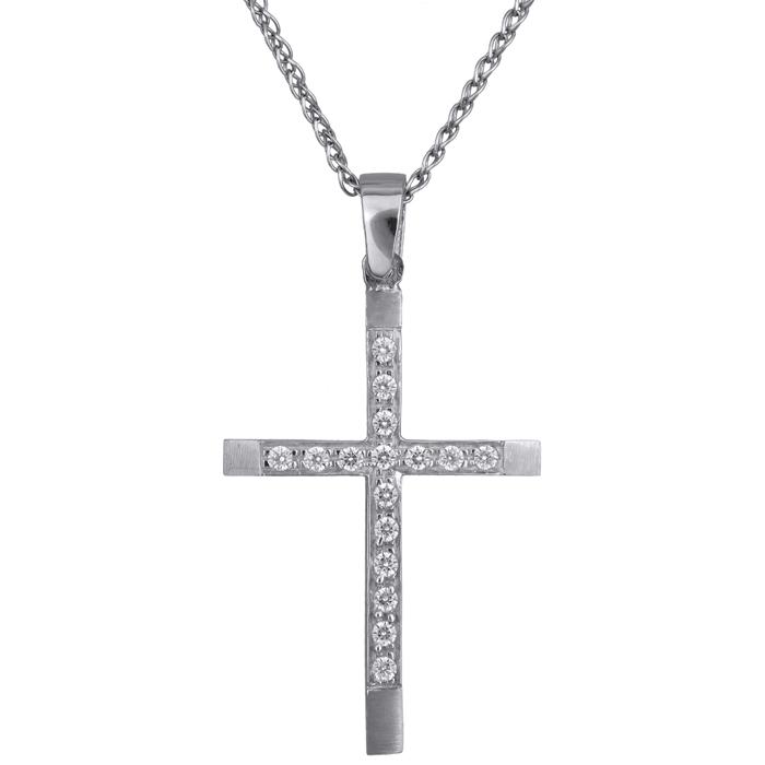 Λευκόχρυσος γυναικείος σταυρός Κ14 C016166 016166C Χρυσός 14 Καράτια χρυσά κοσμήματα σταυροί