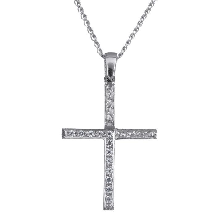 Λευκόχρυσος σταυρός Κ14 C016171 016171C Χρυσός 14 Καράτια