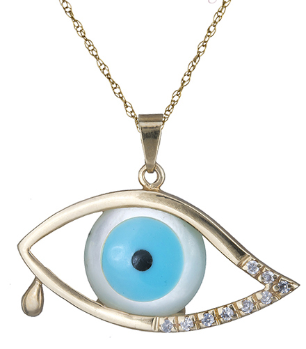 Κολιέ με μάτι φίλντισι Κ14 000163 000163 Χρυσός 14 Καράτια