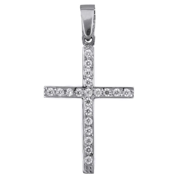 Γυναικείος σταυρός σε λευκόχρυσο 017779 017779 Χρυσός 14 Καράτια