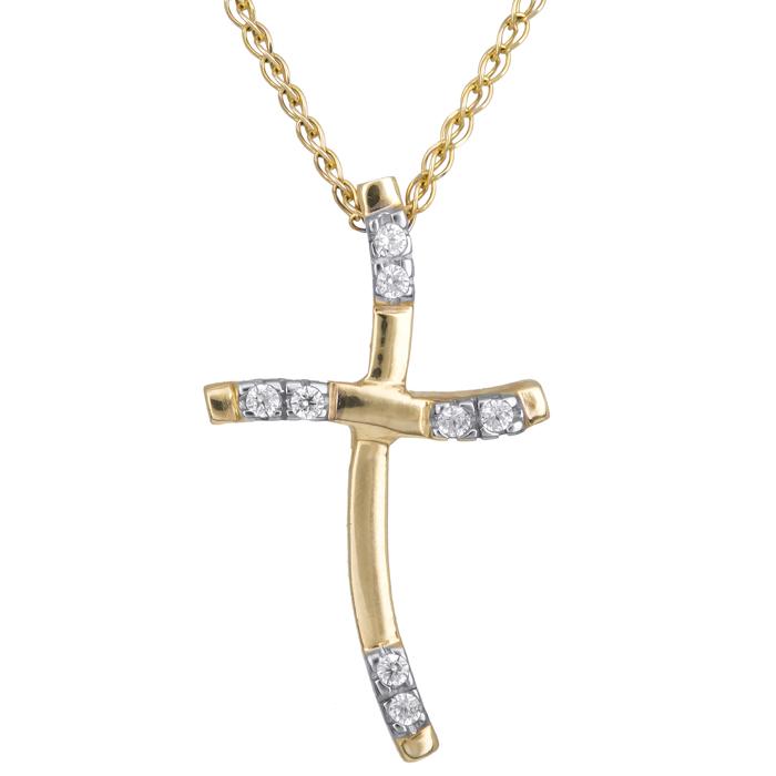 Χρυσός σταυρός για γυναίκες 14Κ C001987 001987C Χρυσός 14 Καράτια