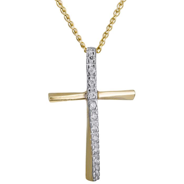 Χρυσός σταυρός με πέτρες ζιργκόν 14Κ C001991 001991C Χρυσός 14 Καράτια
