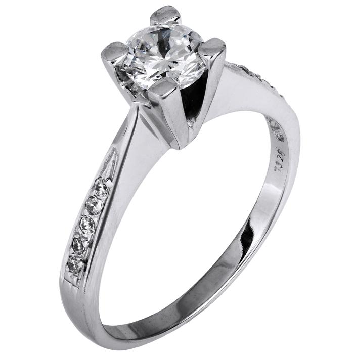 Δαχτυλίδι μονόπετρο λευκόχρυσο 14Κ 002079 Χρυσός 14 Καράτια