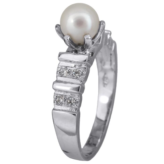 Λευκόχρυσο δαχτυλίδι 14Κ με μαργαριτάρι 002109 002109 Χρυσός 14 Καράτια χρυσά κοσμήματα δαχτυλίδια με μαργαριτάρια και διάφορες πέτρες