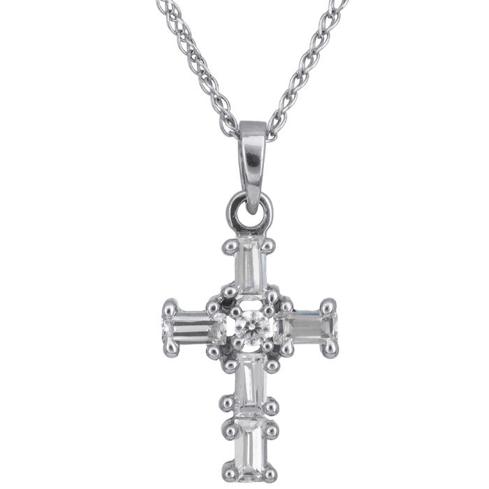 Λευκόχρυσος σταυρός 14 καράτια 002436C 002436C Χρυσός 14 Καράτια χρυσά κοσμήματα σταυροί
