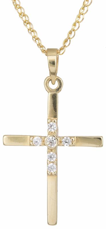 Γυναικείος σταυρός με πέτρες C002438 002438C Χρυσός 14 Καράτια