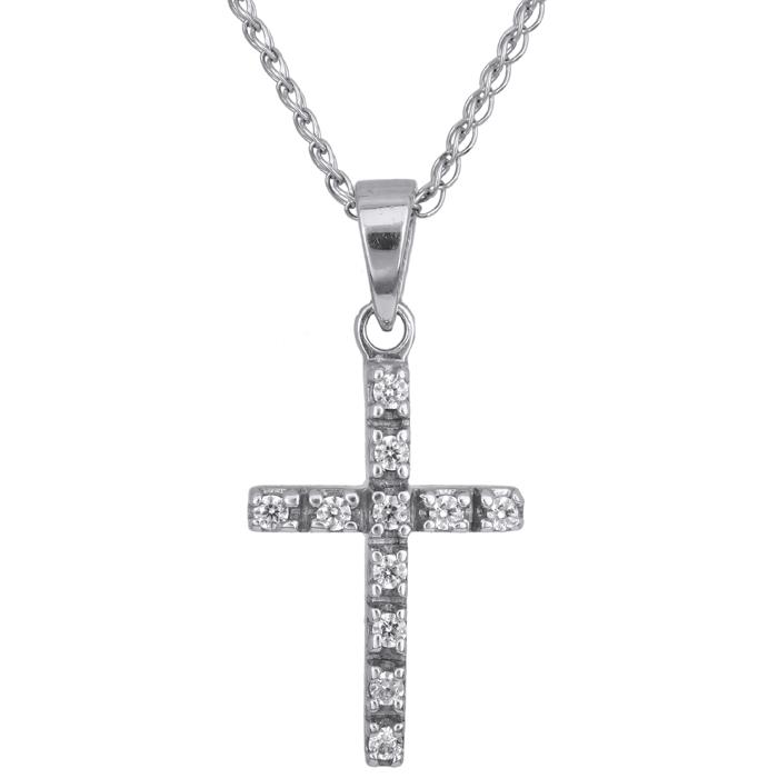 Λευκόχρυσος σταυρός Κ14 002439C 002439C Χρυσός 14 Καράτια