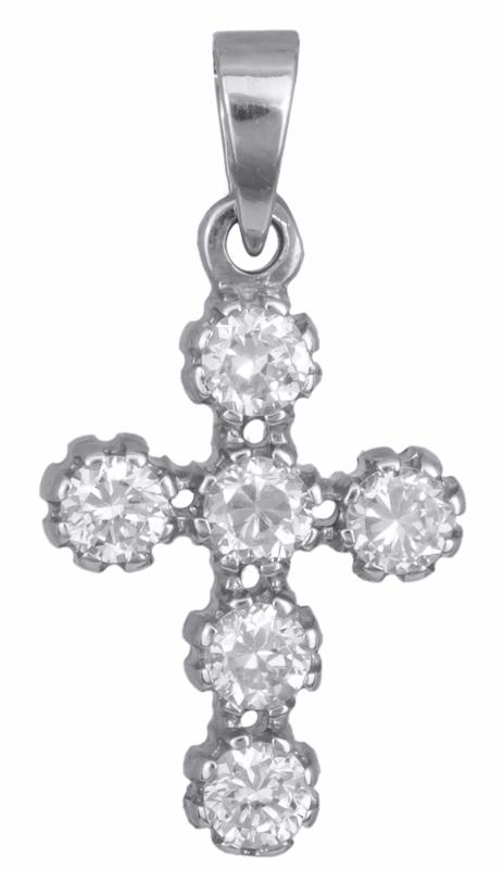 Σταυροί Βάπτισης - Αρραβώνα Λευκόχρυσος σταυρός με πέτρες Κ14 002443 002443 Γυναικείο Χρυσός 14 Καράτια