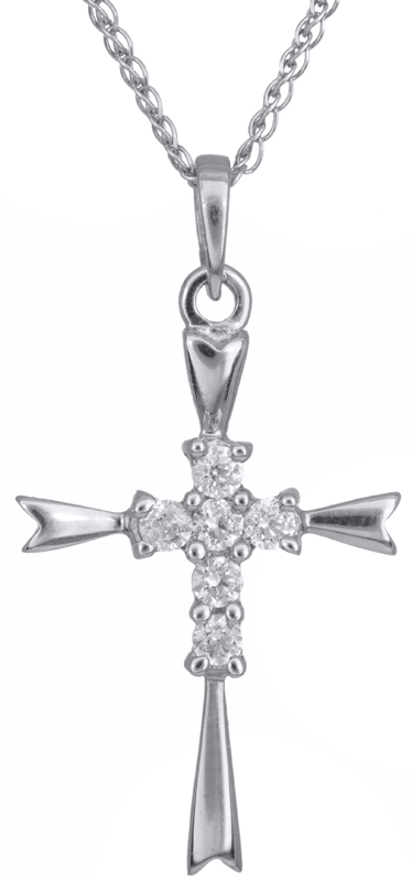 Βαπτιστικοί Σταυροί με Αλυσίδα Λευκόχρυσος σταυρός γυναικείος Κ14 C002447 002447C Γυναικείο Χρυσός 14 Καράτια
