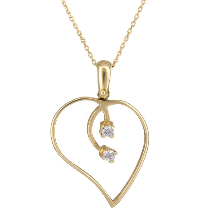 Χρυσό κολιέ με καρδούλα Κ14 000254C 000254C Χρυσός 14 Καράτια χρυσά κοσμήματα καρδιές