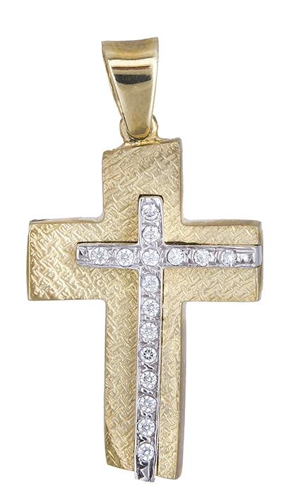 Σταυροί Βάπτισης - Αρραβώνα Δίχρωμος σταυρός 9 καράτια 012496 Γυναικείο Χρυσός 9 Καράτια