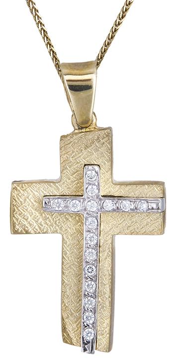 Βαπτιστικοί Σταυροί με Αλυσίδα ΒΑΠΤΙΣΤΙΚΟ ΣΕΤ ΑΠΟ ΔΙΧΡΩΜΟ ΣΤΑΥΡΟ ΚΑΙ ΧΡΥΣΗ ΑΛΥΣΙΔΑ 14Κ C000026 000026C Γυναικείο Χρυσός 14 Καράτια