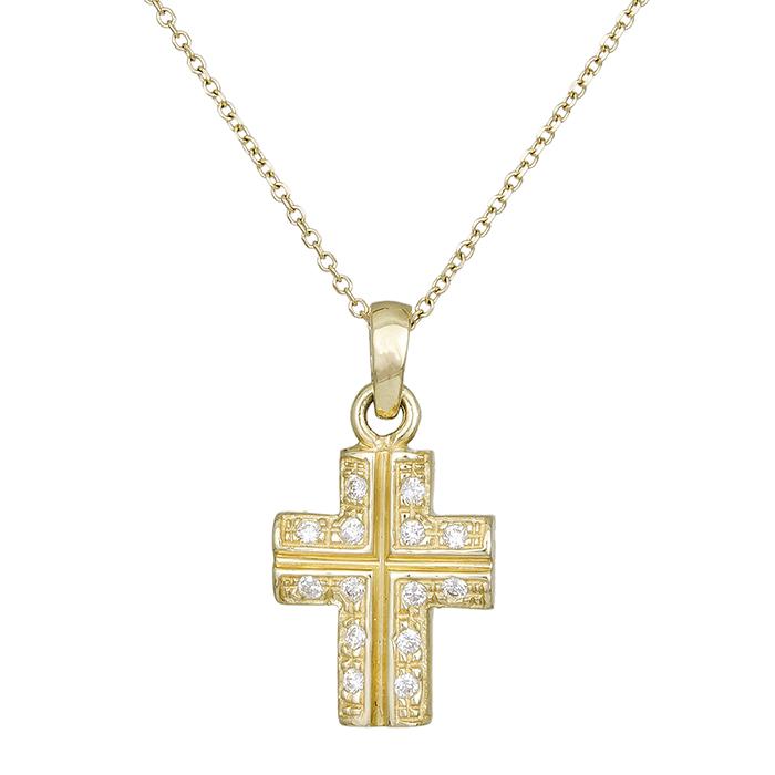 Γυναικείο κολιέ Κ14 με πετράτο σταυρουδάκι 000284C 000284C Χρυσός 14 Καράτια