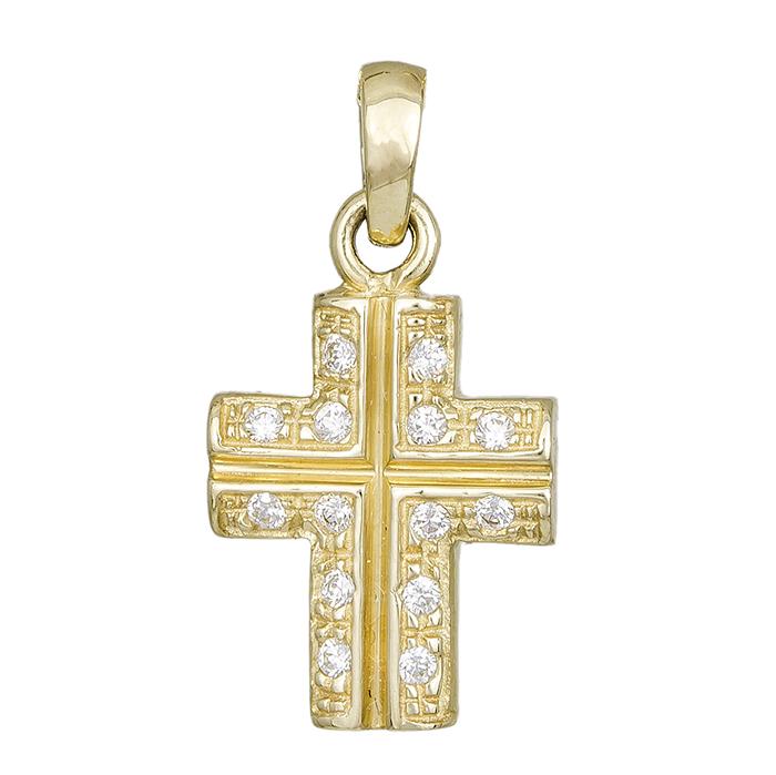 Χρυσό σταυρουδάκι Κ14 με ζιργκόν πέτρες 000284 000284 Χρυσός 14 Καράτια