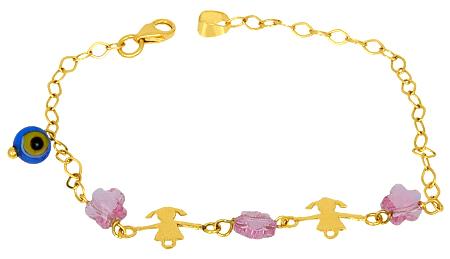 Παιδικό Χρυσό Βραχιόλι Κ14 000393 Χρυσός 14 Καράτια
