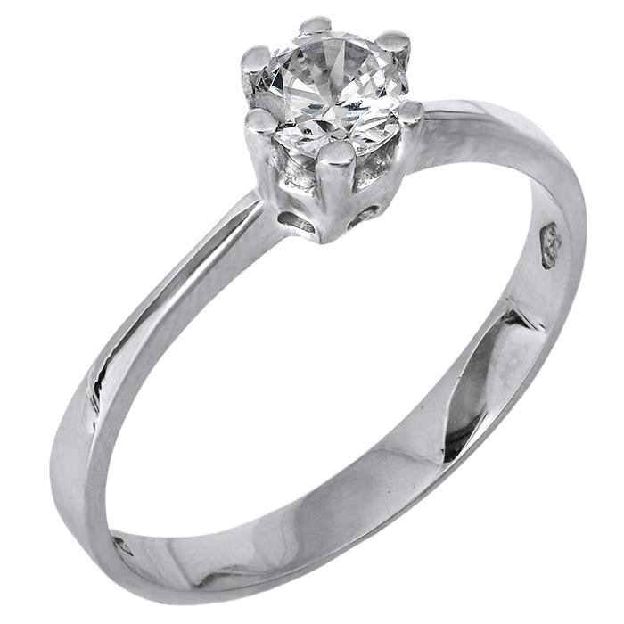 Λευκόχρυσο Δαχτυλίδι Κ14 000420 000420 Χρυσός 14 Καράτια χρυσά κοσμήματα δαχτυλίδια μονόπετρα