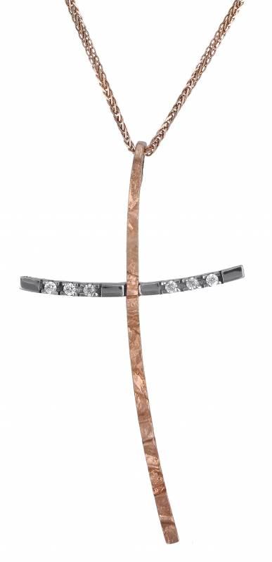 Βαπτιστικοί Σταυροί με Αλυσίδα Ροζ Σταυρός Κ14 C000447 000447C Γυναικείο Χρυσός  σταυροί βάπτισης   γάμου βαπτιστικοί σταυροί με αλυσίδα