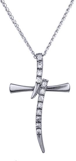 Βαπτιστικοί Σταυροί με Αλυσίδα Λευκόχρυσος γυναικείος σταυρός Κ9 C012656 012656C Γυναικείο Χρυσός 9 Καράτια