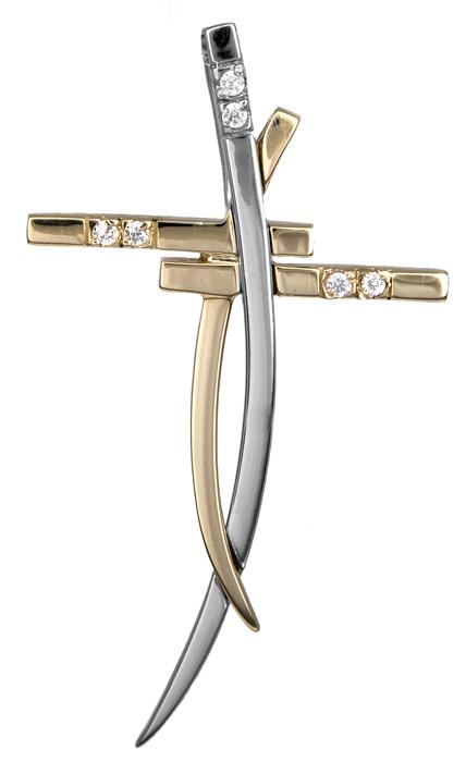 Σταυροί Βάπτισης - Αρραβώνα Δίχρωμος γυναικείος σταυρός Κ14 000463 000463 Γυναικείο Χρυσός 14 Καράτια