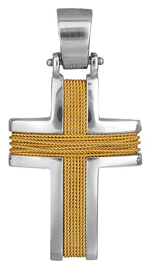 Σταυροί Βάπτισης - Αρραβώνα Δίχρωμος Σταυρός 18Κ 014125 Ανδρικό Χρυσός 18 Καράτια