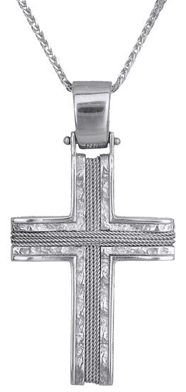 Βαπτιστικοί Σταυροί με Αλυσίδα Βαπτιστικός σταυρός λευκόχρυσος 14Κ C000571 000571C Ανδρικό Χρυσός 14 Καράτια