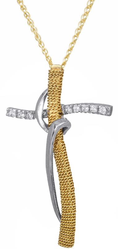Βαπτιστικοί Σταυροί με Αλυσίδα Δίχρωμος γυναικείος σταυρός με αλυσίδα Κ14 C00062 σταυροί βάπτισης   γάμου βαπτιστικοί σταυροί με αλυσίδα