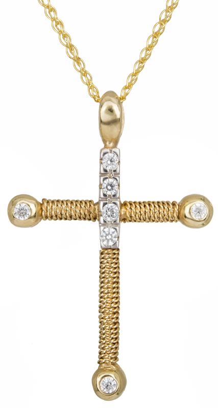Βαπτιστικοί Σταυροί με Αλυσίδα Δίχρωμος συρματερός σταυρός Κ14 C000625 000625C Γυναικείο Χρυσός 14 Καράτια