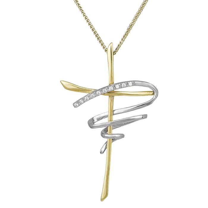 Βαπτιστικοί Σταυροί με Αλυσίδα Δίχρωμος σταυρός με αλυσίδα Κ14 με ζιργκόν 000634C 000634C Γυναικείο Χρυσός 14 Καράτια