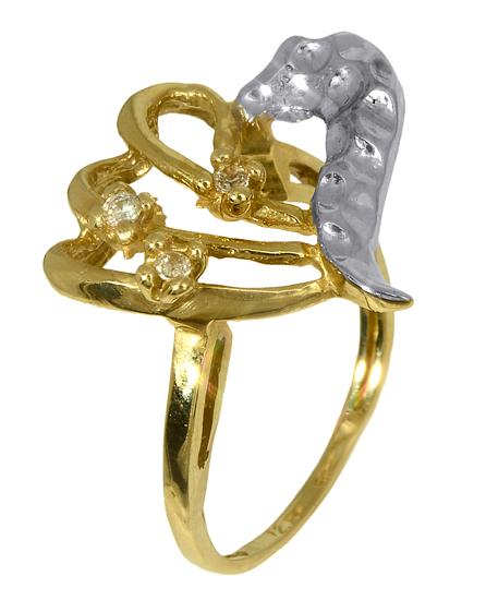 Δίχρωμο Δαχτυλίδι Κ14 000669 000669 Χρυσός 14 Καράτια χρυσά κοσμήματα δαχτυλίδια με μαργαριτάρια και διάφορες πέτρες