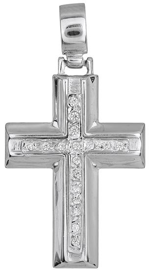 Σταυροί Βάπτισης - Αρραβώνα Λευκόχρυσος Σταυρός Κ14 000680 000680 Γυναικείο Χρυσός 14 Καράτια