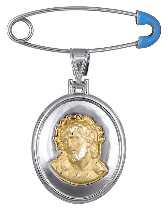 Δίχρωμο Φυλαχτό με τον Χριστό K14 C012875 012875C Χρυσός 14 Καράτια