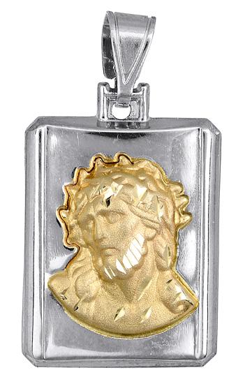 Δίχρωμο Φυλαχτό K9 με τον Χριστό 018561 018561 Χρυσός 9 Καράτια