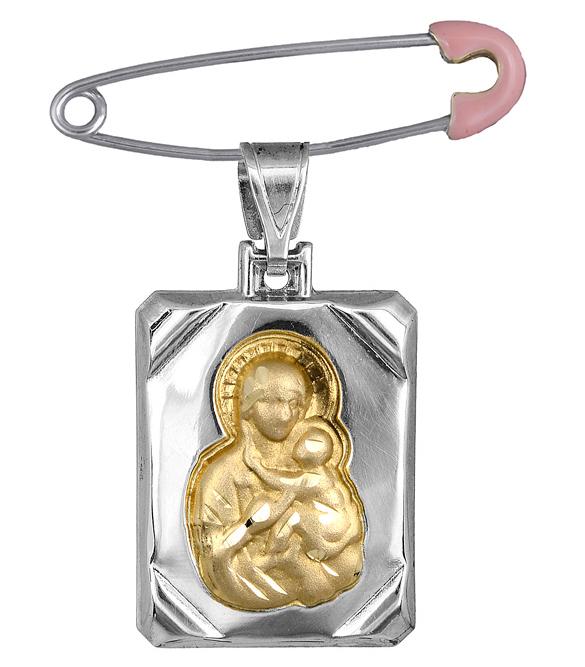 Δίχρωμο Φυλαχτό σε καρφίτσα K14 C000730 000730C Χρυσός 14 Καράτια χρυσά κοσμήματα κωνσταντινάτα   φυλαχτά