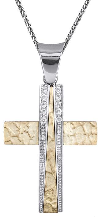 Βαπτιστικοί Σταυροί με Αλυσίδα Βαπτιστικός σταυρός για κορίτσι 9Κ C012498 012498C Γυναικείο Χρυσός 9 Καράτια
