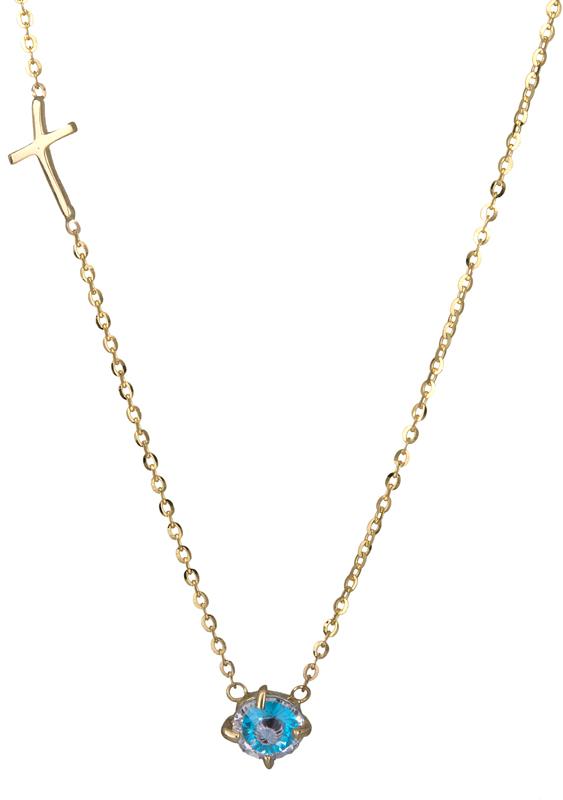 Γυναικείο χρυσό κολιέ με ματάκι Κ14 000925 000925 Χρυσός 14 Καράτια