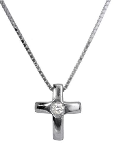 Λευκόχρυσος Σταυρός Κ18 με διαμάντι 000936 000936 Χρυσός 18 Καράτια
