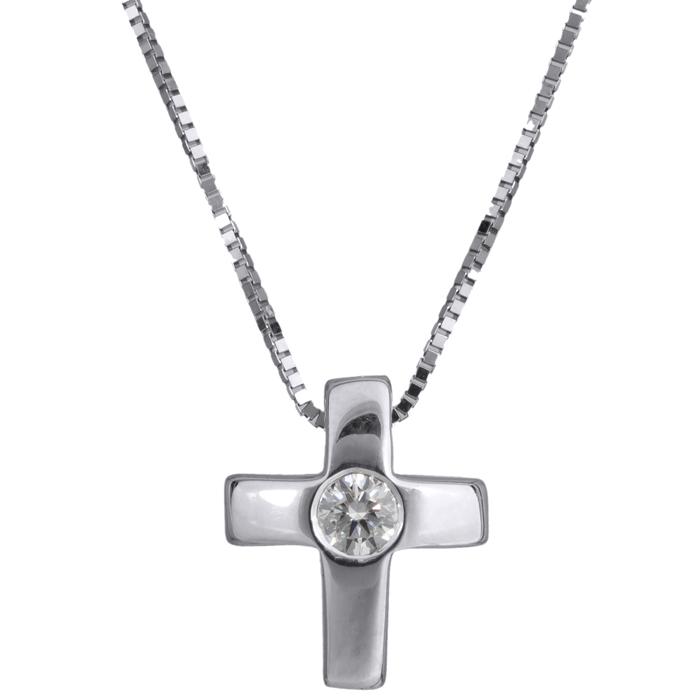 Λευκόχρυσος Σταυρός Κ18 με διαμάντι 000942 Χρυσός 18 Καράτια