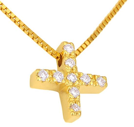 Χρυσός Σταυρός Κ18 με διαμάντια 000952 Χρυσός 18 Καράτια χρυσά κοσμήματα κολιέ