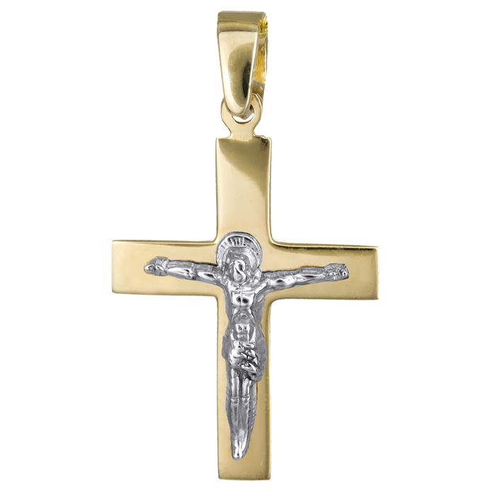 Αντρικός σταυρός με τον Εσταυρωμένο Κ14 010805 010805 Χρυσός 14 Καράτια