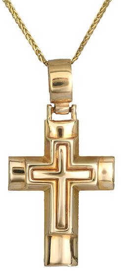Βαπτιστικοί Σταυροί με Αλυσίδα Αντρικός σταυρός 9Κ C014140 014140C Ανδρικό Χρυσός 9 Καράτια