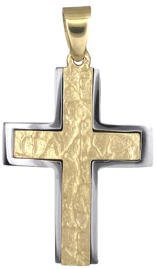 Σταυροί Βάπτισης - Αρραβώνα Δίχρωμος Ανάγλυφος Σταυρός 9K 012493 Ανδρικό Χρυσός 9 Καράτια