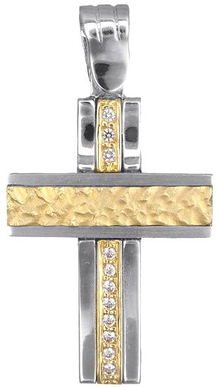 Σταυροί Βάπτισης - Αρραβώνα Δίχρωμος σταυρός 9Κ 012582 Γυναικείο Χρυσός 9 Καράτια
