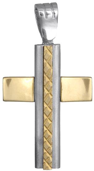 Σταυροί Βάπτισης - Αρραβώνα Δίχρωμος Σταυρός Κ14 001138 001138 Ανδρικό Χρυσός 14 Καράτια